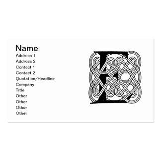 Letter E Vintage Celtic Knot Monogram Business Card Templates