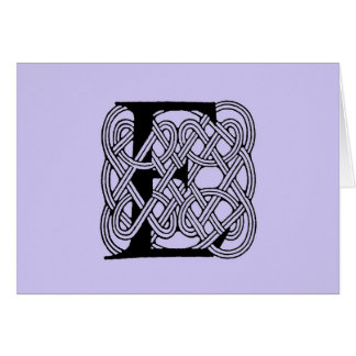 Letter E Vintage Celtic Knot Monogram Card