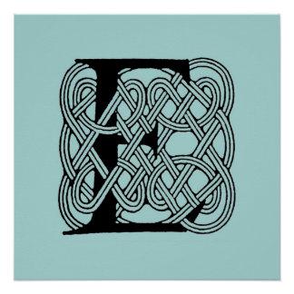 Letter E Vintage Celtic Knot Monogram Poster