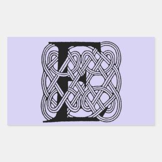 Letter E Vintage Celtic Knot Monogram Rectangular Sticker