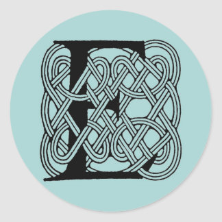 Letter E Vintage Celtic Knot Monogram Classic Round Sticker