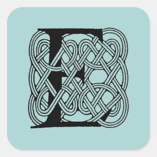 Letter E Vintage Celtic Knot Monogram Square Sticker