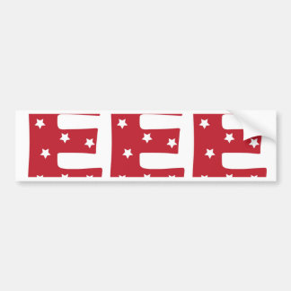 Letter E - White Stars on Dark Red Bumper Sticker