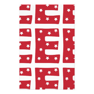 Letter E - White Stars on Dark Red Personalized Stationery