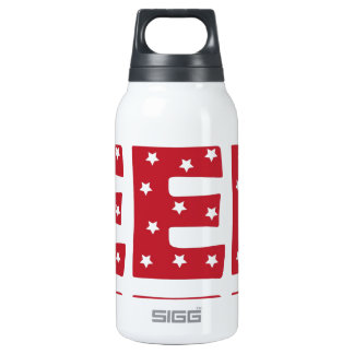 Letter E - White Stars on Dark Red Thermos Water Bottle