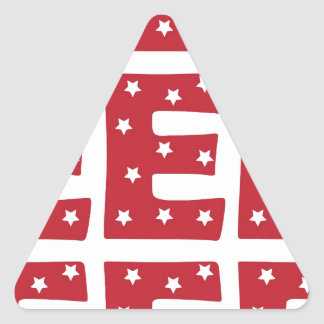 Letter E - White Stars on Dark Red Triangle Sticker