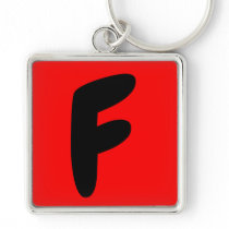 letter f, abeceddario, initial keychain