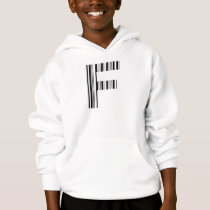 LETTER F BAR CODE First Initial Barcode Pattern Hoodie