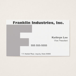 Letter F Gill font fade Business Card
