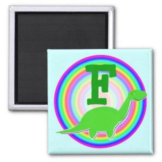Letter F Green Dinosaur Diplodocus Fridge Magnet