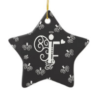 Letter F Initial Monogram Christmas Tree Ornaments