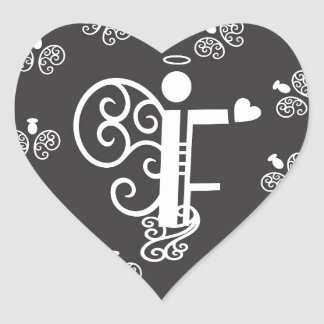 Letter F Initial Monogram Heart Sticker