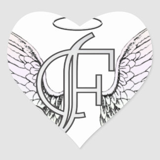 Letter F Initial Monogram with Angel Wings & Halo Heart Sticker
