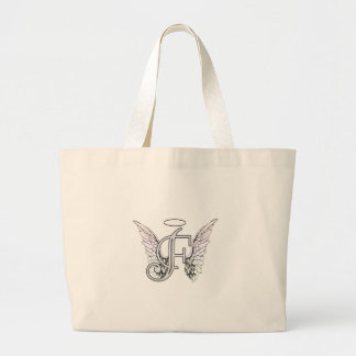 Letter F Initial Monogram with Angel Wings & Halo Large Tote Bag