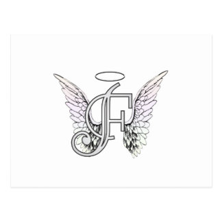 Letter F Initial Monogram with Angel Wings & Halo Postcard