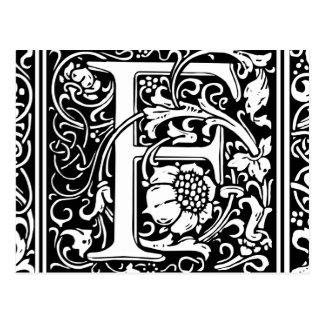 Letter F Medieval Monogram Vintage Initial Postcard