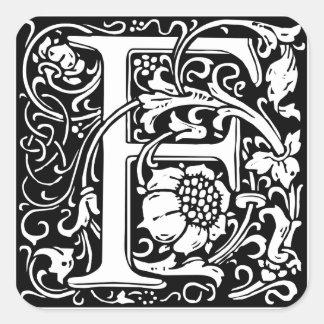 Letter F Medieval Monogram Vintage Initial Square Sticker