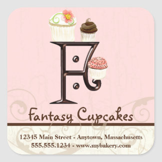 Letter F Monogram Cupcake Logo Business Stickers