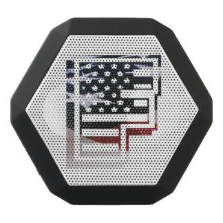 Letter F Monogram Initial USA Flag Pattern Black Bluetooth Speaker