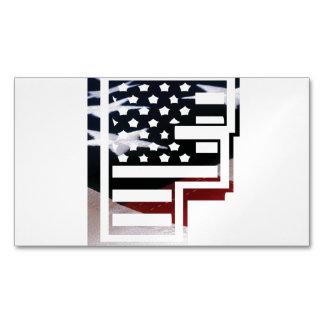 Letter F Monogram Initial USA Flag Pattern Magnetic Business Card