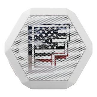 Letter F Monogram Initial USA Flag Pattern White Bluetooth Speaker