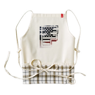 Letter F Monogram Initial USA Flag Pattern Zazzle HEART Apron
