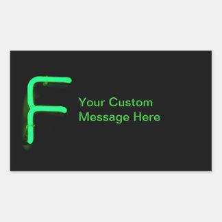 """Letter """"F"""" Neon Light Monogram Rectangular Sticker"""