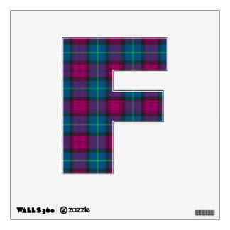 letter F punk college rock tartan plaid wall decal