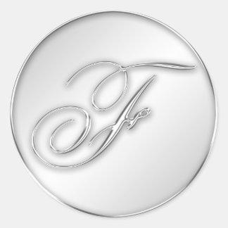 Letter F script initial faux silver monogram favor Stickers