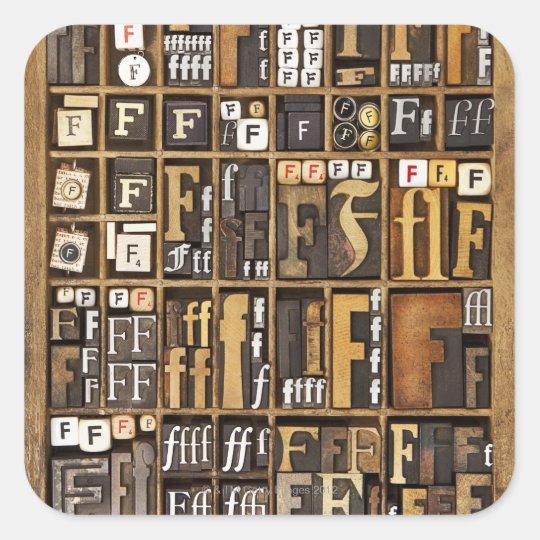 Letter F Square Sticker