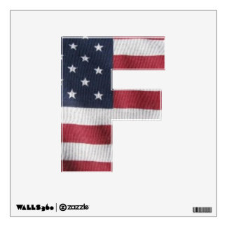 Letter F window decal with flag pattern