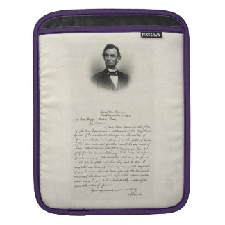 Letter from Abraham Lincoln Sleeve For iPads