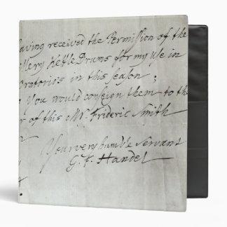 Letter from George Frederick Handel Binder