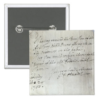 Letter from George Frederick Handel 2 Inch Square Button