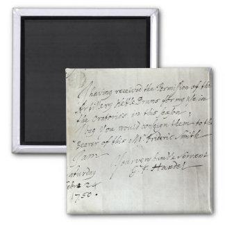 Letter from George Frederick Handel Magnet