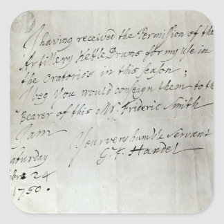 Letter from George Frederick Handel Stickers