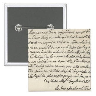 Letter from George I to Charles VI 2 Inch Square Button