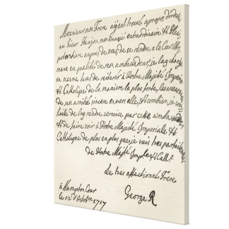 Letter from George I to Charles VI Canvas Print