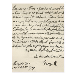 Letter from George I to Charles VI Postcard