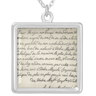 Letter from George I to Charles VI Square Pendant Necklace