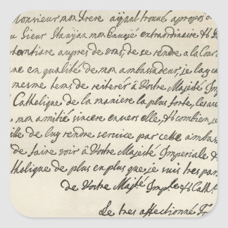 Letter from George I to Charles VI Square Sticker