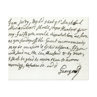 Letter from George II to the Duke of Newcastle Stretched Canvas Print