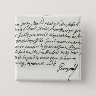 Letter from George II to the Duke of Newcastle Pinback Button
