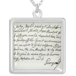 Letter from George II to the Duke of Newcastle Square Pendant Necklace