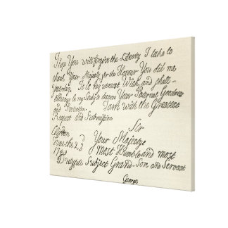 Letter from George III to his grandfather the Canvas Print