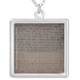Letter from Leopold Mozart Square Pendant Necklace