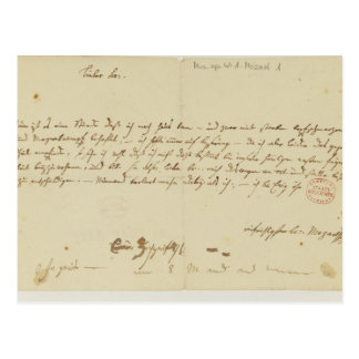 Letter from Mozart to a freemason, January 1786 Post Card