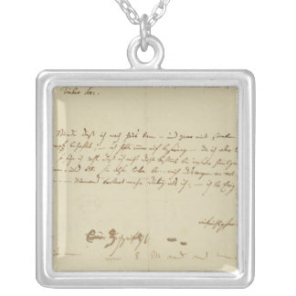 Letter from Mozart to a freemason, January 1786 Square Pendant Necklace