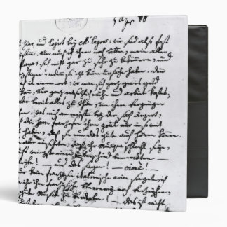 Letter from Mozart to his Father, 5th April 3 Ring Binder