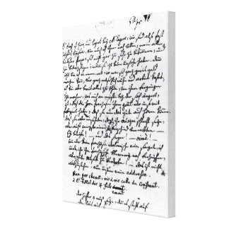 Letter from Mozart to his Father, 5th April Canvas Print